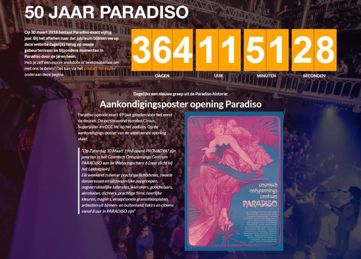 Screenshot van www.50jaarparadiso.nl
